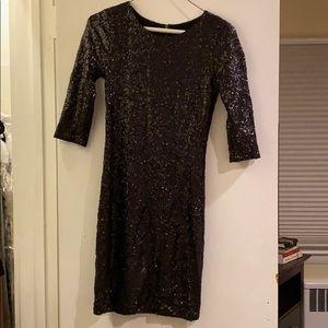 Aqua Black Sequin Cocktail Dress